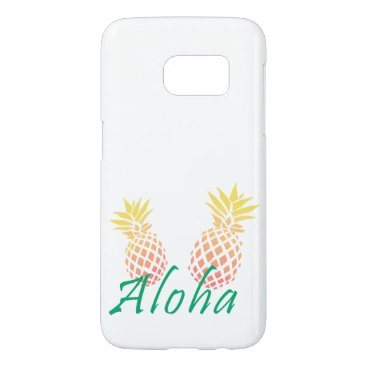 "Beach Themed summer tropical ""aloha"" text, colorful pineapple samsung galaxy s7 case"