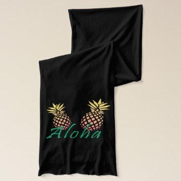 "Beach Themed summer tropical ""aloha"" text, colorful pineapple scarf"