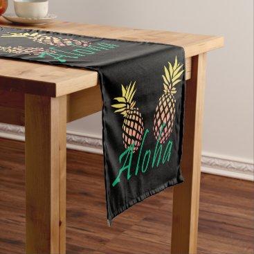 "Beach Themed summer tropical ""aloha"" text, colorful pineapple short table runner"