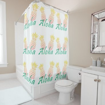 "Beach Themed summer tropical ""aloha"" text, colorful pineapple shower curtain"