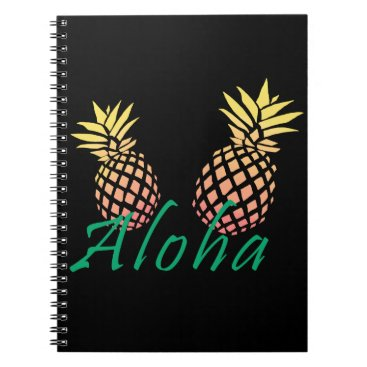 "Beach Themed summer tropical ""aloha"" text, colorful pineapple spiral notebook"