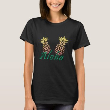 "Beach Themed summer tropical ""aloha"" text, colorful pineapple T-Shirt"