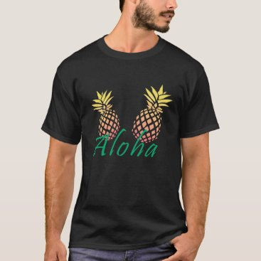 "Beach Themed summer tropical ""aloha"" text, colorful pineapple T-Shirt"