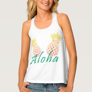 "Beach Themed summer tropical ""aloha"" text, colorful pineapple tank top"