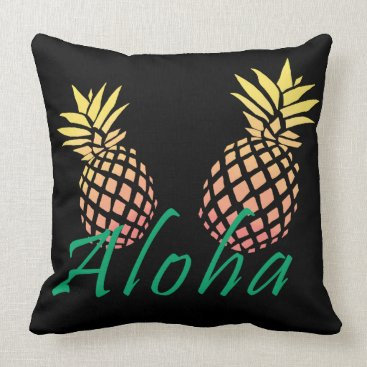 "Beach Themed summer tropical ""aloha"" text, colorful pineapple throw pillow"