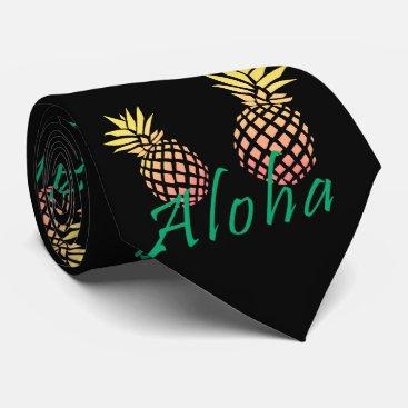 "Beach Themed summer tropical ""aloha"" text, colorful pineapple tie"