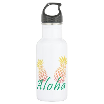 "Beach Themed summer tropical ""aloha"" text, colorful pineapple water bottle"