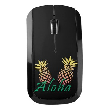 "Beach Themed summer tropical ""aloha"" text, colorful pineapple wireless mouse"