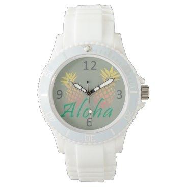 "Beach Themed summer tropical ""aloha"" text, colorful pineapple wrist watch"