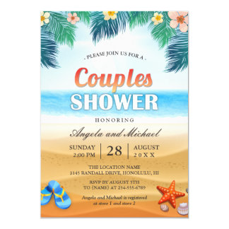 Summer Tropical Beach Couples Wedding Shower Invitation