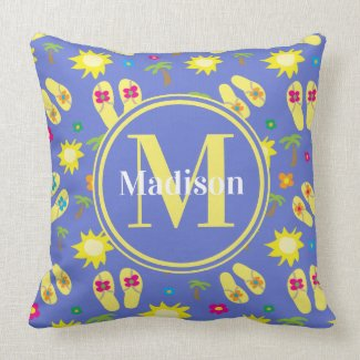 Summer Tropical Beachy Monogrammed Throw Pillow