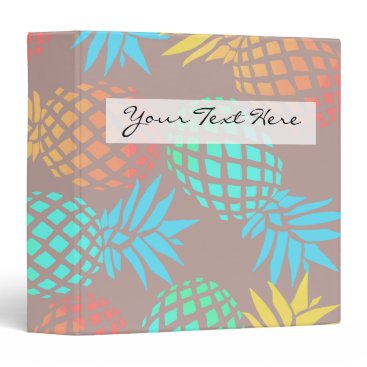 summer tropical colorful pineapple pattern 3 ring binder