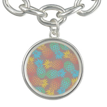 Beach Themed summer tropical colorful pineapple pattern bracelet