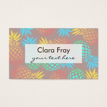Beach Themed summer tropical colorful pineapple pattern business card