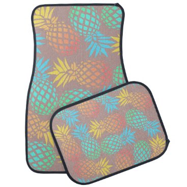 Beach Themed summer tropical colorful pineapple pattern car floor mat