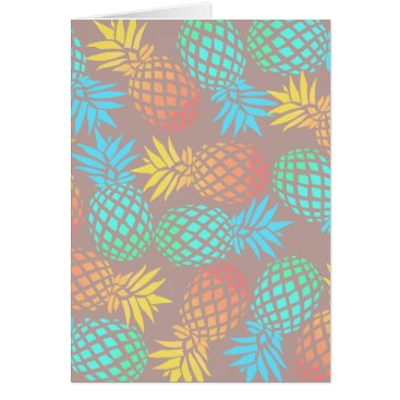 Beach Themed summer tropical colorful pineapple pattern card