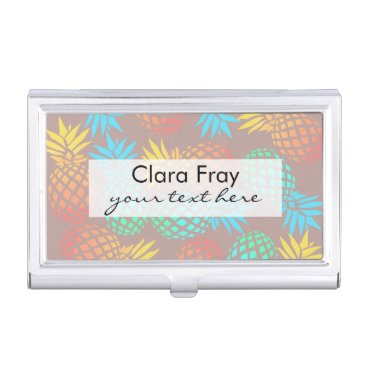 Beach Themed summer tropical colorful pineapple pattern case for business cards