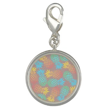 Beach Themed summer tropical colorful pineapple pattern charm