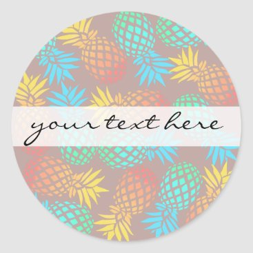 summer tropical colorful pineapple pattern classic round sticker
