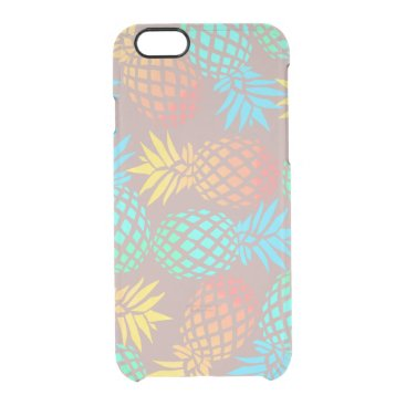Beach Themed summer tropical colorful pineapple pattern clear iPhone 6/6S case