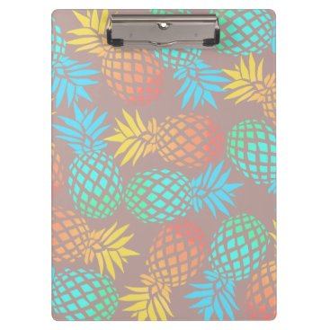 Beach Themed summer tropical colorful pineapple pattern clipboard