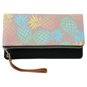 Beach Themed summer tropical colorful pineapple pattern clutch