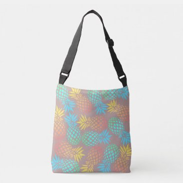 Beach Themed summer tropical colorful pineapple pattern crossbody bag