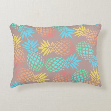 Beach Themed summer tropical colorful pineapple pattern decorative pillow