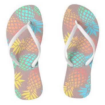 summer tropical colorful pineapple pattern flip flops