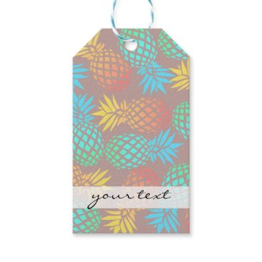 Beach Themed summer tropical colorful pineapple pattern gift tags