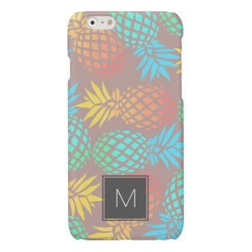 Beach Themed summer tropical colorful pineapple pattern glossy iPhone 6 case