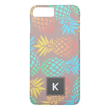 Beach Themed summer tropical colorful pineapple pattern iPhone 7 plus case
