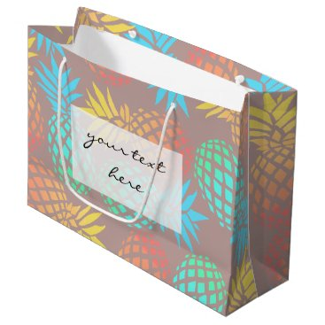 summer tropical colorful pineapple pattern large gift bag