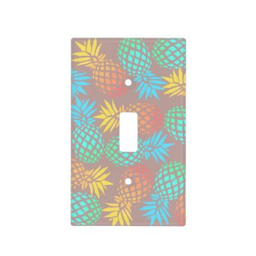 Beach Themed summer tropical colorful pineapple pattern light switch cover