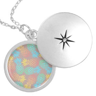 Beach Themed summer tropical colorful pineapple pattern locket necklace