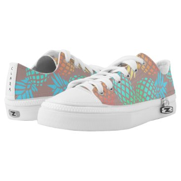 Beach Themed summer tropical colorful pineapple pattern Low-Top sneakers