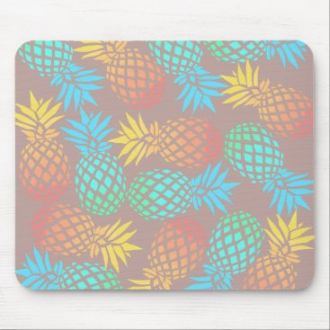 Beach Themed summer tropical colorful pineapple pattern mouse pad