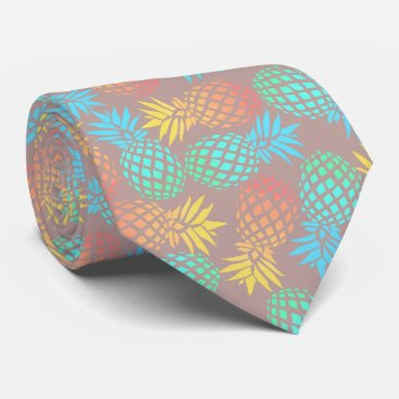 Beach Themed summer tropical colorful pineapple pattern neck tie