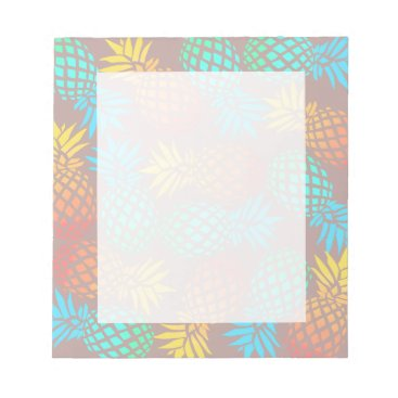 Beach Themed summer tropical colorful pineapple pattern notepad