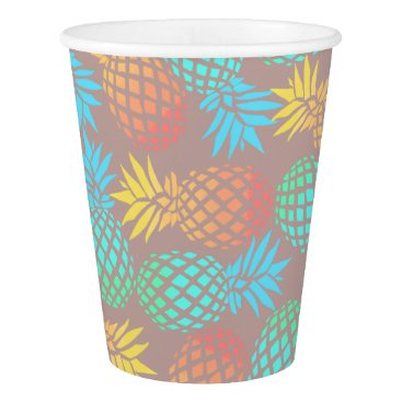 summer tropical colorful pineapple pattern paper cup