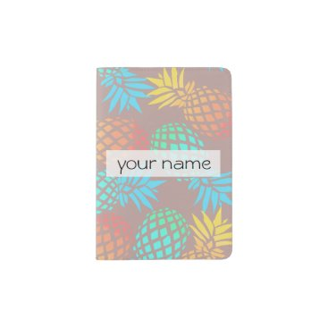 Beach Themed summer tropical colorful pineapple pattern passport holder