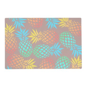 Beach Themed summer tropical colorful pineapple pattern placemat