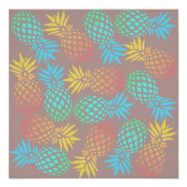 Beach Themed summer tropical colorful pineapple pattern poster