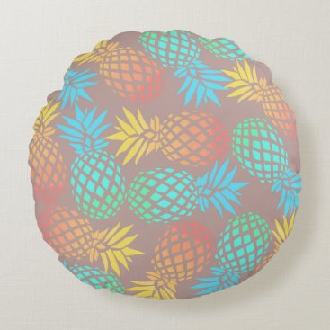 Beach Themed summer tropical colorful pineapple pattern round pillow