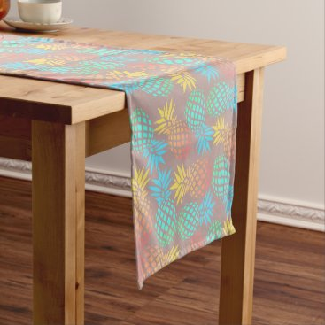 Beach Themed summer tropical colorful pineapple pattern short table runner