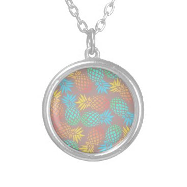 Beach Themed summer tropical colorful pineapple pattern silver plated necklace