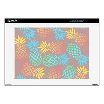 "Beach Themed summer tropical colorful pineapple pattern skins for 15"" laptops"
