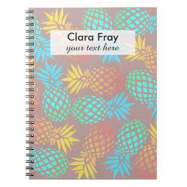 Beach Themed summer tropical colorful pineapple pattern spiral notebook