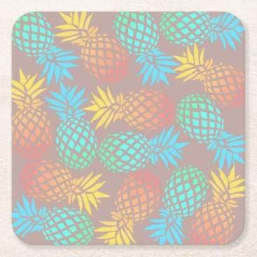 summer tropical colorful pineapple pattern square paper coaster