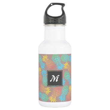 summer tropical colorful pineapple pattern stainless steel water bottle